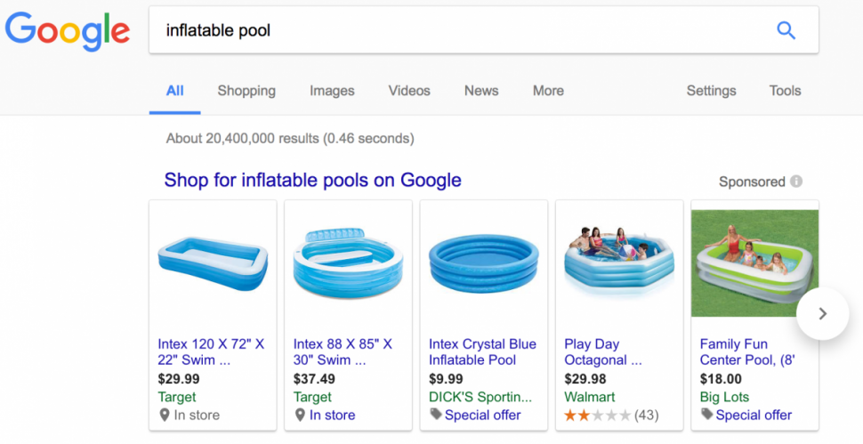 Google Shopping results for Inflatable Pool_2017-07-26