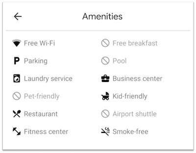 google my business attributes and amenities example