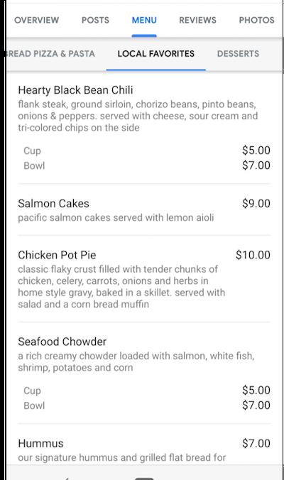 google my business menu example