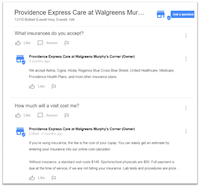 google my business questions and answers screenshot