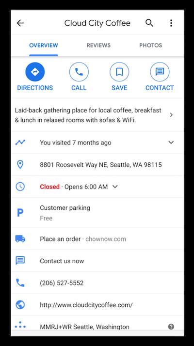 google my business listing screenshot