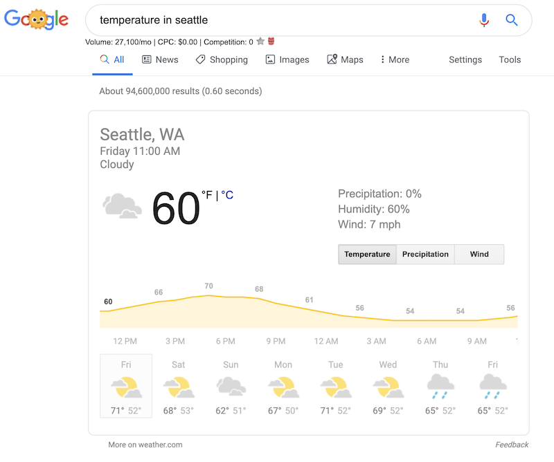 screenshot of google search of temperature in seattle