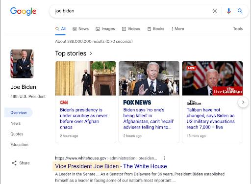 Per Google, Biden è ancora Vice Presidente degli USA